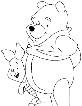 piglet and pooh coloring page