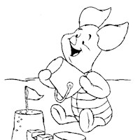piglet beach coloring page