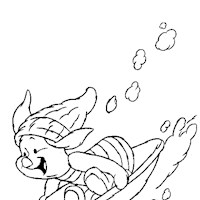 piglet sledding coloring page