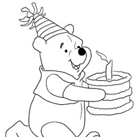pooh birthday coloring page