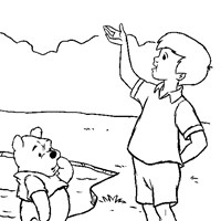 pooh christopher robbin coloring page