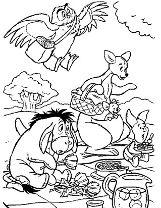 pooh friends picinic coloring page