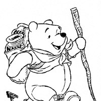 winnie the pooh coloring page pooh hiking all kids network