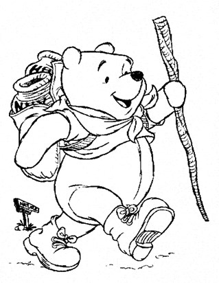 pooh hiking coloring page