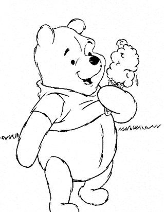 pooh ice cream coloring page