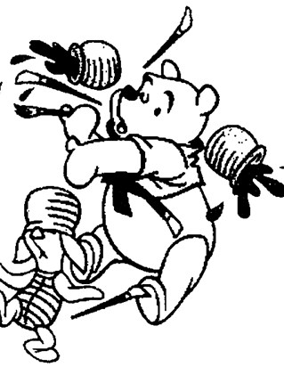 pooh painting coloring page