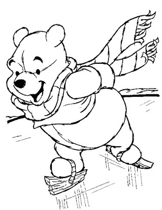 pooh skating coloring page