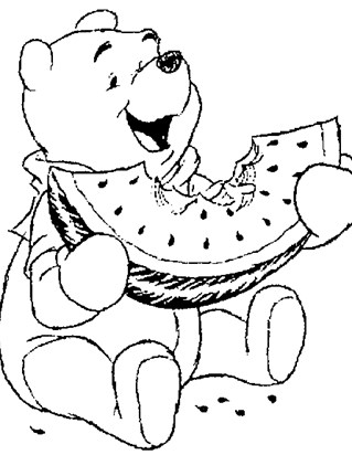 pooh watermelon coloring page