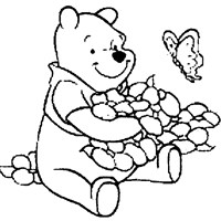 pooh with flowers coloring page