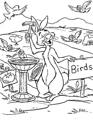 rabbit feeding birds coloring page