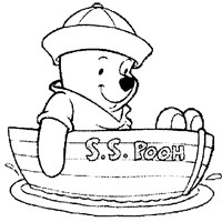 winnie the pooh in boat coloring page