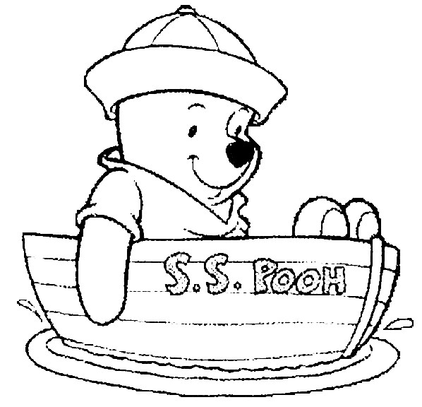 Winnie The Pooh Coloring Page Winnie The Pooh In Boat All Kids