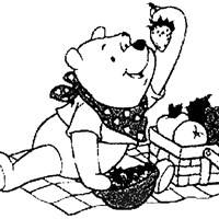winnie the pooh picinic coloring page