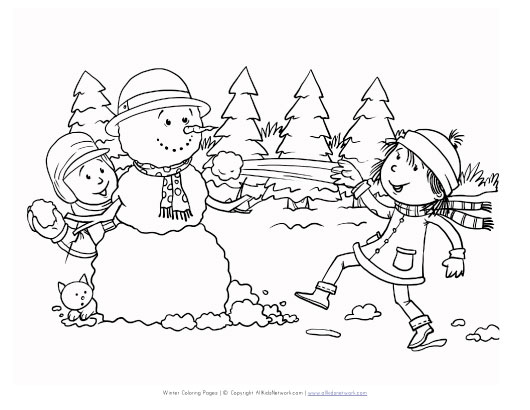 Snowball Fight Coloring Page | All Kids Network
