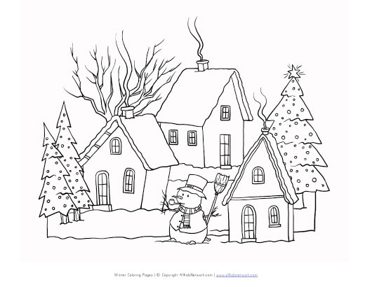 Winter Scene Coloring Page : All Kids Network