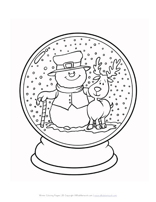 fox snow globe coloring pages - photo#4
