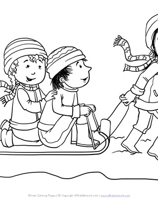 kids sledding winter coloring page