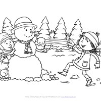 winter snow ball fight coloring page