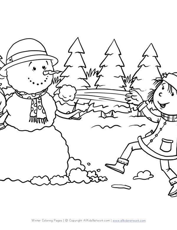 snowball fight coloring page all kids network