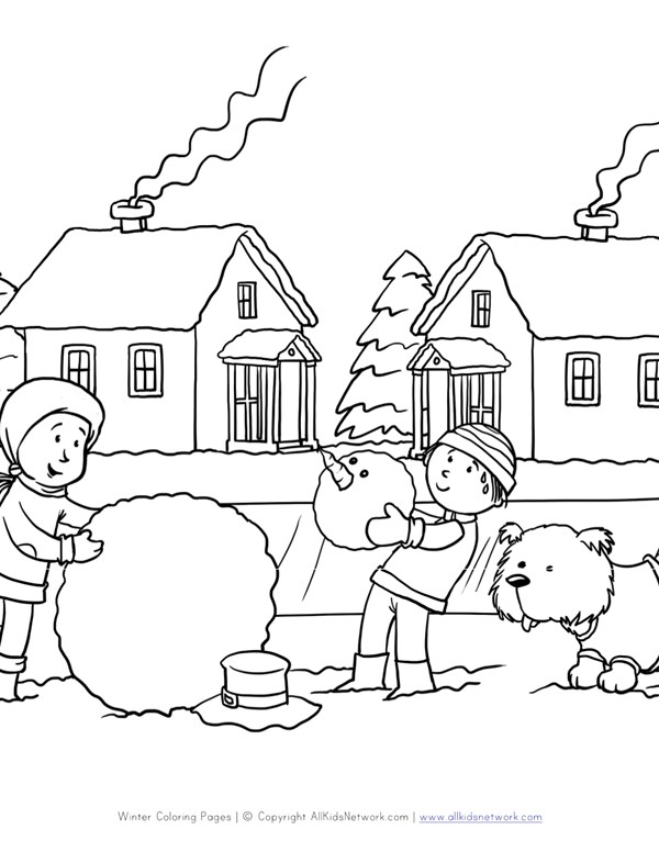 Making Snowman Coloring Page | All Kids Network