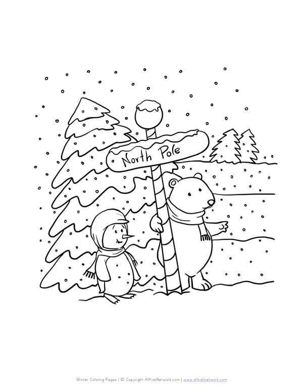 North Pole Coloring Page | All Kids Network