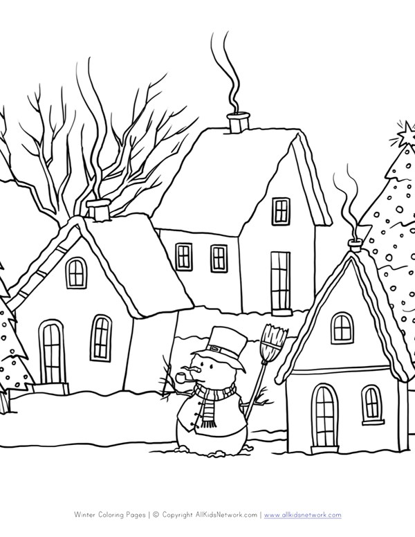Winter Scene Coloring Page | All Kids Network