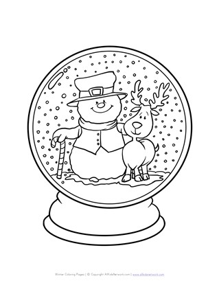 winter snowglobe coloring page