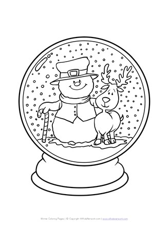 Winter Snow Globe Coloring Page All Kids Network