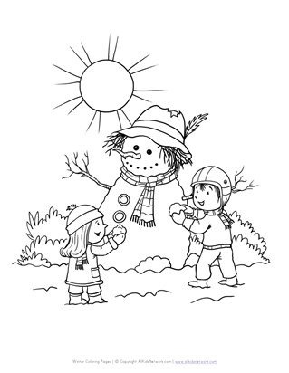 winter snowman coloring page
