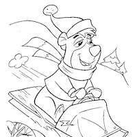 boo boo sledding coloring page