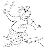 yogi bear surfing coloring page
