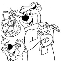 yogi boo boo birthday coloring page