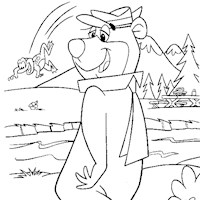 yogi walking coloring page