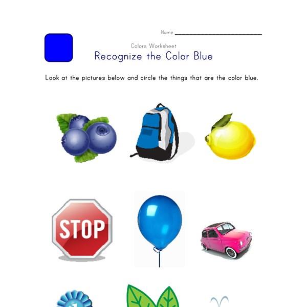 Worksheets Color Blue Worksheet recognize the color blue colors worksheet for kids all blue