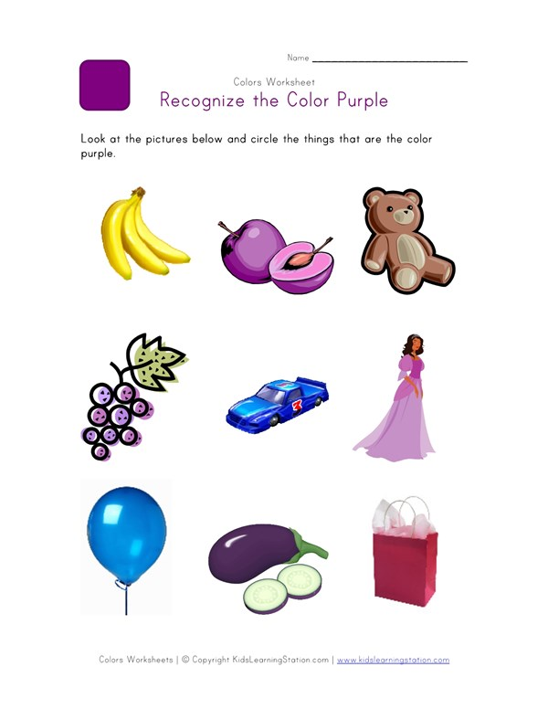 Recognize The Color Purple Colors Worksheet For Kids All Kids