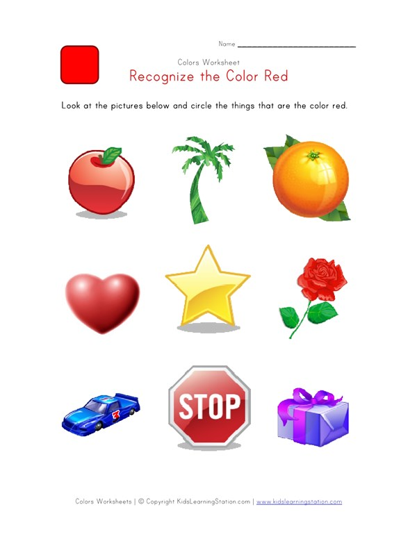 Recognize The Color Red Colors Worksheet For Kids All Kids Network