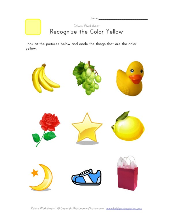 Recognize The Color Yellow Colors Worksheet For Kids All. Recognize The Color Yellow Colors Worksheet For Kids All Work. Worksheet. Color Yellow Worksheets At Clickcart.co