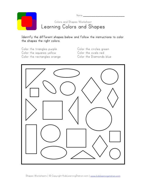 Shapes And Colors Worksheet All Kids Network