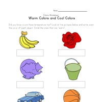 warm and cool colors worksheet