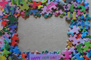 100th Day Puzzle Piece Picture Frame