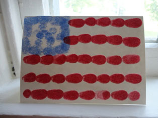 patriotic fingerprint flag card craft