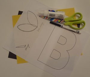 letter b bumblebee craft materials