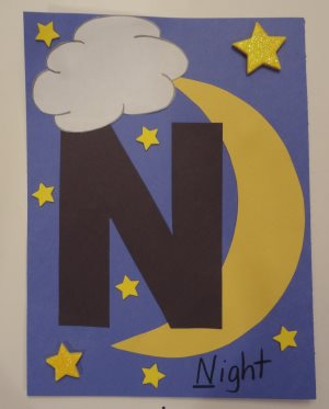 Letter n night craft all kids network for Art n craft for toddlers