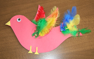 bird with feathers craft