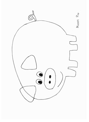 Pig Template Mask Coloring Page Stuffed Martha