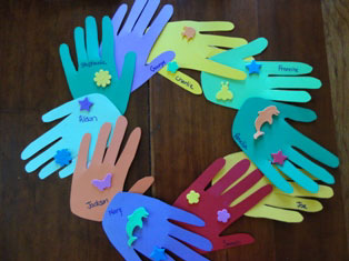 handprint classroom wreath craft