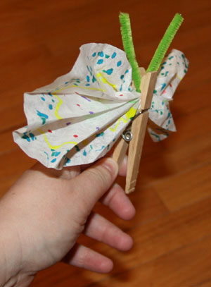 coffee filter butterfly craft side