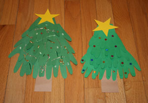 handprint christmas trees craft