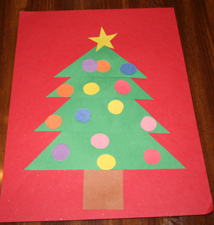 shape christmas tree preschool craft