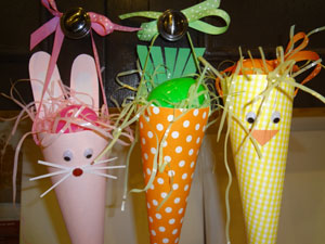 easter cone craft finished